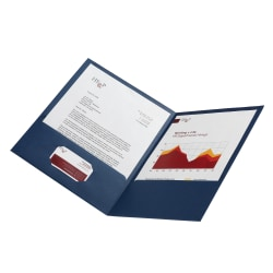 Office Depot® Linen 2-Pocket Folder, Letter Size, Navy, Pack Of 5