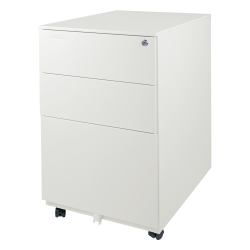 "Aurora 24""D Vertical 3-Drawer Mobile File Cabinet, Metal, White"