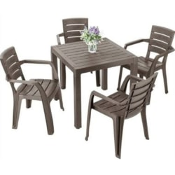 Inval Baru Collection 5-Piece Patio Set, Mocca
