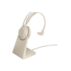 Jabra Evolve2 65 Headset - Mono - Wireless - Bluetooth - Over-the-head - Monaural - Supra-aural - Beige