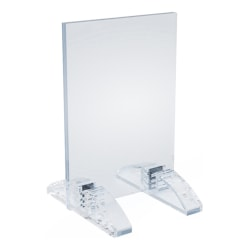 "Azar Displays Dual-Stand Vertical/Horizontal Acrylic Sign Holders, 5""H x 3""W x 3-1/2""D, Clear, Pack Of 10 Holders"