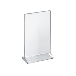 """Azar Displays Acrylic Vertical 2-Sided Sign Holders, 11""""H x 7""""W x 3""""D, Clear, Pack Of 10 Holders"""