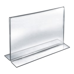 """Azar Displays Double-Foot 2-Sided Acrylic Sign Holders, 9""""H x 12""""W x 3""""D, Clear, Pack Of 10 Holders"""