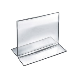 "Azar Displays Double-Foot 2-Sided Acrylic Sign Holders, 4""H x 5""W x 3""D, Clear, Pack Of 10 Holders"