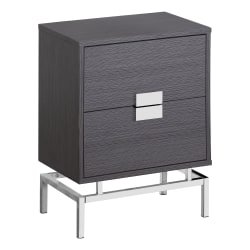 Monarch Specialties Retro 2-Drawer Accent Table, Rectangular, Gray/Chrome