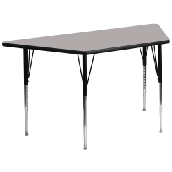 """Flash Furniture 60""""W Trapezoid HP Laminate Activity Table With Standard Height-Adjustable Legs, Gray"""
