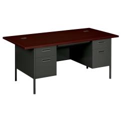 HON® Metro Classic Double-Pedestal Desk, Mahogany/Charcoal