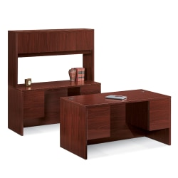 "HON® 10500 Series Double-Pedestal Desk, 60""W x 30""D, Mahogany"