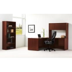 """HON® 10500 Series 66"""" W Left Pedestal Desk, Mahogany"""