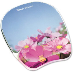 Fellowes® Gel Mouse Pad With Wrist Rest, Pink Flowers