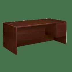 "HON® 10700 Series 72""W Right Pedestal Desk, Mahogany"