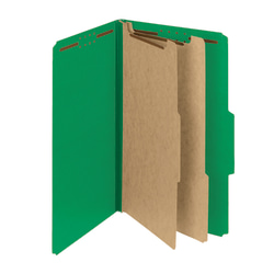Smead® Pressboard Classification Folders With SafeSHIELD® Coated Fasteners, Legal Size, 60% Recycled, Green, Box Of 10