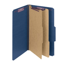Smead® Pressboard Classification Folders With SafeSHIELD® Fasteners, 2 Dividers, Legal Size, 60% Recycled, Dark Blue, Box Of 10