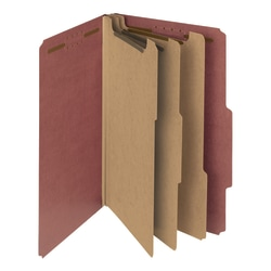 Smead® Pressboard Classification Folders, 3 Dividers, Legal Size, 100% Recycled, Red, Box Of 10