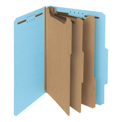 Smead® Pressboard Classification Folders, 3 Dividers, Legal Size, 100% Recycled, Blue, Box Of 10