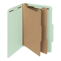 Smead® Pressboard Classification Folders, 2 Dividers, Legal Size, 100% Recycled, Gray/Green, Box Of 10