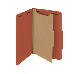 Smead® Pressboard Classification Folders, 1 Divider, Legal Size, 100% Recycled, Red, Box Of 10