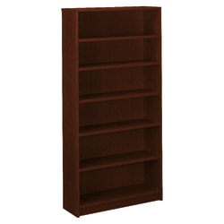 HON® 1870-Series Laminate Bookcase, 6 Shelves, Mahogany
