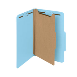 Smead® Pressboard Classification Folders, 1 Divider, Legal Size, 100% Recycled, Blue, Box Of 10