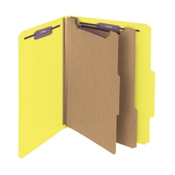 Smead® Pressboard Classification Folders With SafeSHIELD® Fasteners, 2 Dividers, Letter Size, 60% Recycled, Yellow, Box Of 10