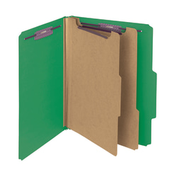 Smead® Pressboard Classification Folders With SafeSHIELD® Coated Fasteners, Letter Size, 60% Recycled, Green, Box Of 10