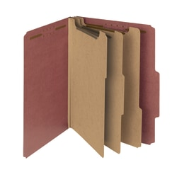Smead® Pressboard Classification Folders, 3 Dividers, Letter Size, 100% Recycled, Red, Box Of 10