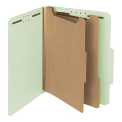 Smead® Pressboard Classification Folders, 3 Dividers, Letter Size, 100% Recycled, Gray/Green, Box Of 10