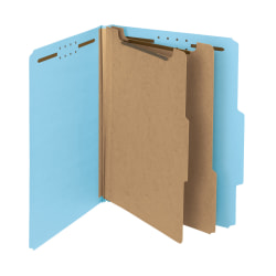 Smead® Pressboard Classification Folders, 2 Dividers, Letter Size, 100% Recycled, Blue, Box Of 10
