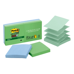 """Post-it® Super Sticky Recycled Pop-up Notes, 3"""" x 3"""", Bora Bora, Pack Of 6 Pads"""