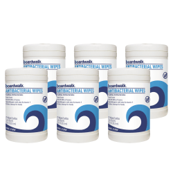 Boardwalk Antibacterial Hand Wipes, Fresh Scent, 75 Wipes Per Canister, Carton Of 6 Canisters