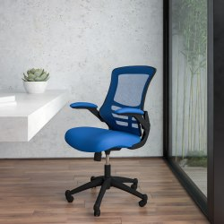 Flash Furniture Mesh Mid-Back Swivel Task Chair With Flip-Up Arms, Blue/Black