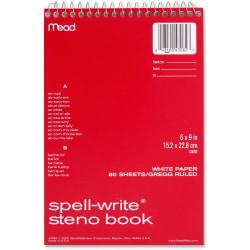 "MeadWestvaco Spell-Write Steno Book - 80 Sheets - 6"" x 9"" - White Paper - 1Each"