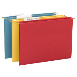 Smead® TUFF® Hanging File Folders With Easy Slide™ Tabs, Letter Size, Assorted Colors (No Color Choice), Box Of 15