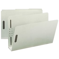 """Smead® Pressboard Fastener Folders, 3"""" Expansion, Legal Size, 100% Recycled, Gray/Green, Pack Of 25"""