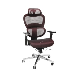 OFM Core Collection Model 540 Ergo Mesh High-Back Chair With Headrest, Burgundy, Black/Chrome