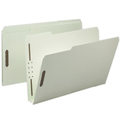"Smead® Pressboard Fastener Folders, 2"" Expansion, Legal Size, 100% Recycled, Gray/Green, Pack Of 25"