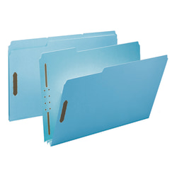 "Smead® Pressboard Fastener Folders, 2"" Expansion, 8 1/2"" x 14"", Legal, 100% Recycled, Blue, Box of 25"