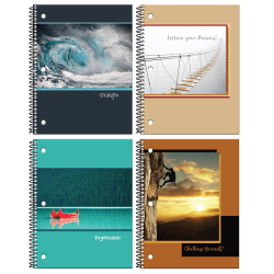 """Inkology Spiral Notebooks, 8"""" x 10-1/2"""", College Ruled, 140 Pages (70 Sheets), Inspirational Quotes, Pack Of 12 Notebooks"""
