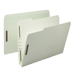 "Smead® Pressboard Fastener Folders, 2"" Expansion, Letter Size, 100% Recycled, Gray/Green, Pack Of 25"