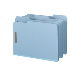 """Smead® Pressboard Fastener Folders, 1"""" Expansion, 8 1/2"""" x 11"""", Letter, 100% Recycled, Blue, Box of 25"""