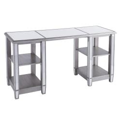 "Southern Enterprises Wedlyn Mirrored 4-Shelf 50""W Desk, Matte Silver"