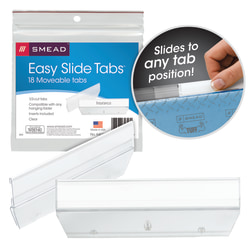 "Smead® Easy Slide™ Tabs, 3 1/2"" x 1/2"", Clear, Pack Of 18"