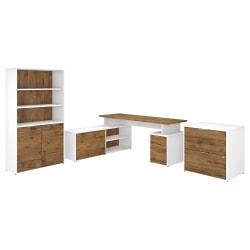 "Bush Business Furniture Jamestown 72""W L-Shaped Desk With Lateral File Cabinet And 5-Shelf Bookcase, Fresh Walnut/White, Premium Installation"