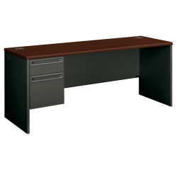 HON®38000 Series Left-Pedestal Credenza With Lock, Mahogany/Charcoal