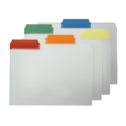 Smead® Clear Poly File Folders With Color Tabs, 1/3 Cut, Letter Size, Assorted Colors, Pack Of 25