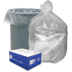 "Webster® 0.01 mil Trash Bags, 56 gal, 43""H x 43""W, Natural, 200 Bags"