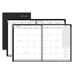 """Office Depot® Brand Weekly/Monthly Academic Planner, Vertical Format, 8"""" x 11"""", 30% Recycled, Black, July 2021 to August 2022, ODUS2033-009"""