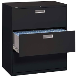 "HON® Brigade® 600 42""W Lateral 3-Drawer File Cabinet, Metal, Black"