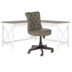 """Bush Furniture Key West 60""""W L-Shaped Desk With Mid-Back Tufted Office Chair, Shiplap Gray/Pure White, Standard Delivery"""