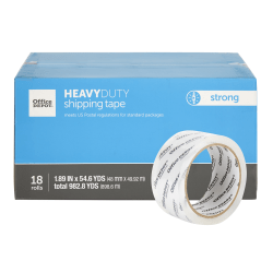 "Office Depot® Brand Heavy-Duty Shipping Tape, 1-15/16"" x 54-5/8 Yd, Clear, Pack Of 18 Rolls"